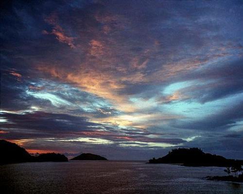 Puesta de sol en Seychelles.