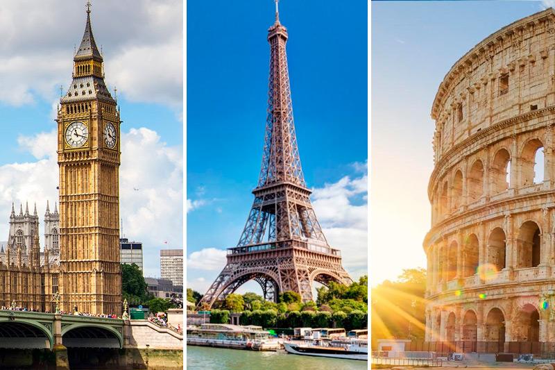 3 en 1: Londres + París + Roma